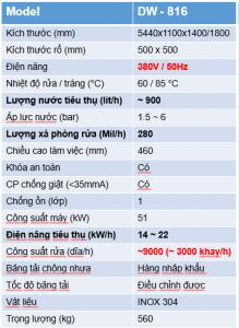 Thông số KT DW-816.V01