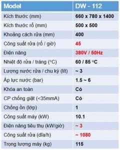 Bảng thông số máy DW-112